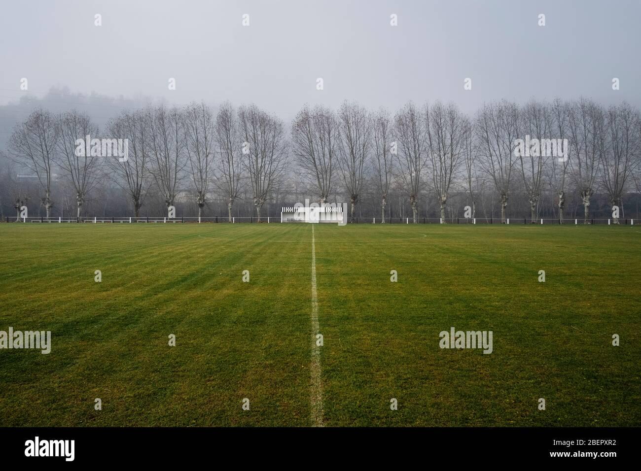 Parque de juegos de fútbol en Borgonyà, Sant Vicenç de Torelló, Osona, Cataluña (España, Europa) Foto de stock