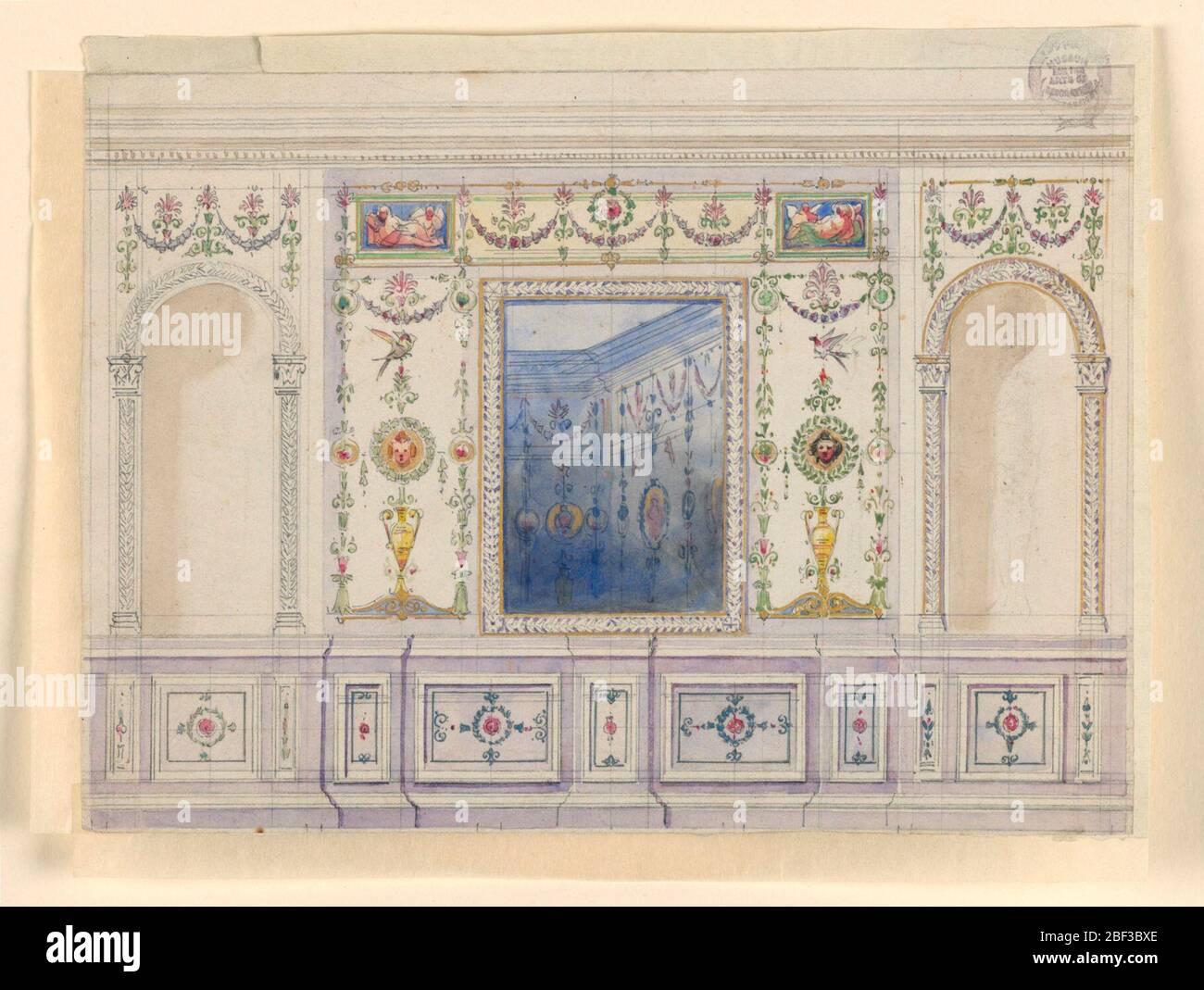 Decoración pintada de una pared. Lateralmente sobre un dado son nichos con estatuas, para los cuales se sugiere un marco pintado y la parte superior, en el centro de la pared es un espejo, flanqueado por paneles grotescos. Un friso y dos pinturas oblongas en la parte superior. Foto de stock