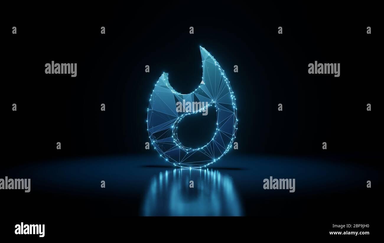 representación 3d estructura alámbrica digital techno neón brillante símbolo de llama con puntos brillantes sobre fondo negro con reflejos brillantes en el suelo Foto de stock