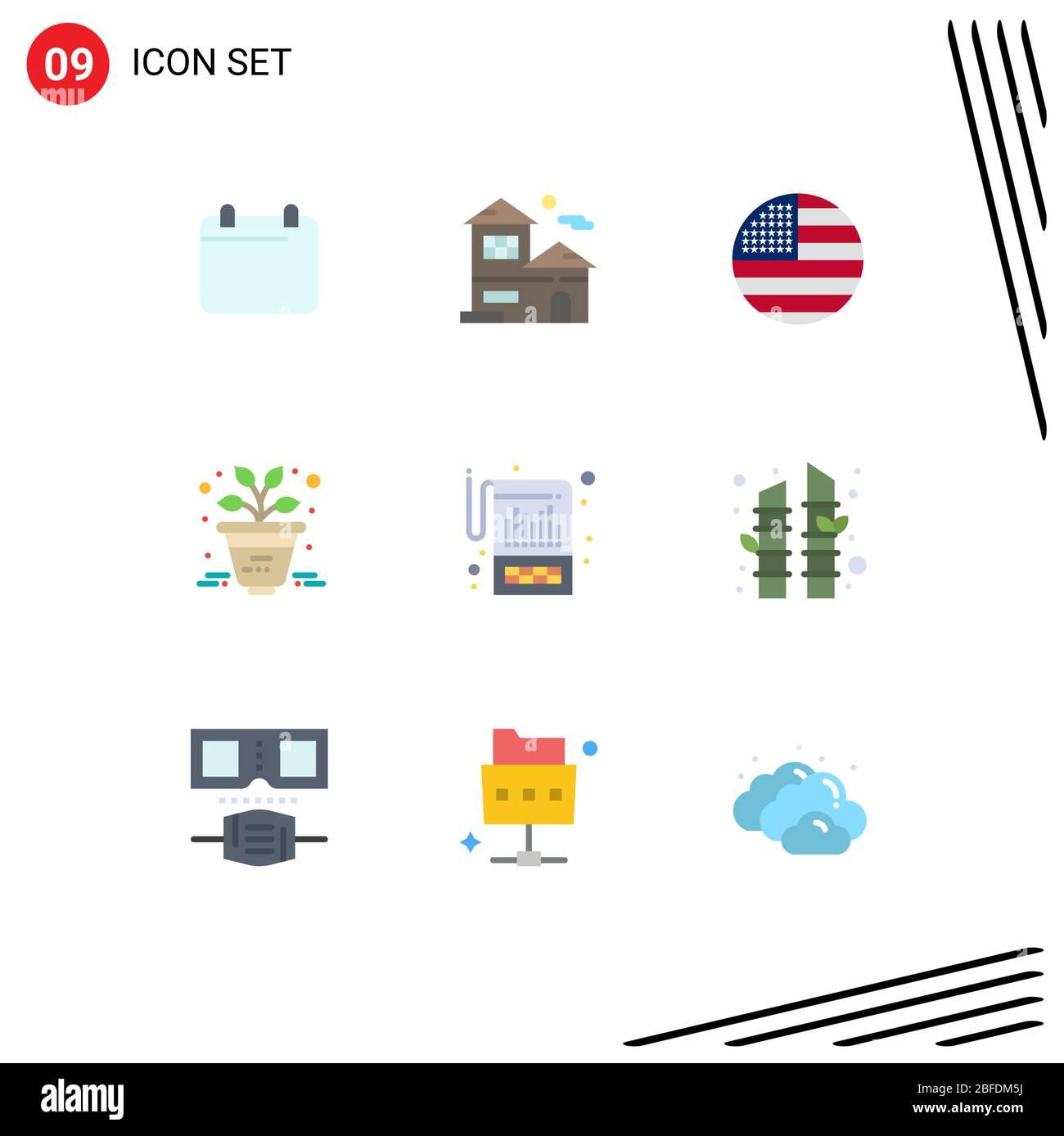 Flat Color Pack de 9 símbolos universales de elementos de diseño vectorial editables financieros, de cuenta, americanos, de planta y de negocio Ilustración del Vector
