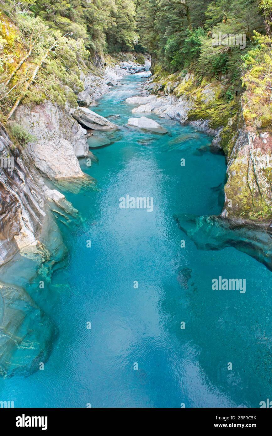 Blue Pools of Haast Pass, Parque Nacional Mt Aspiring, Isla del Sur, Nueva Zelanda, Foto de stock
