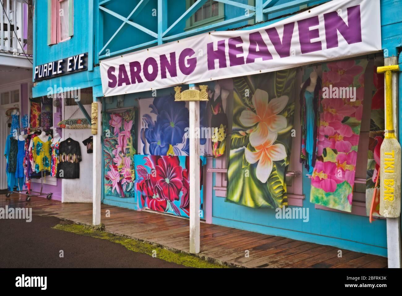 La colorida tienda frente al Purple Eye es una de las tiendas del ecelctico en la pequeña ciudad de Honomu en la Isla Grande de Hawai. Foto de stock