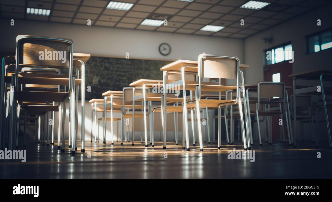 interior de una escuela primaria tradicional, suelos y elementos de madera, ambiente clásico y clásico. concepto de escuela y educación. nadie alrededor. 3d r Foto de stock