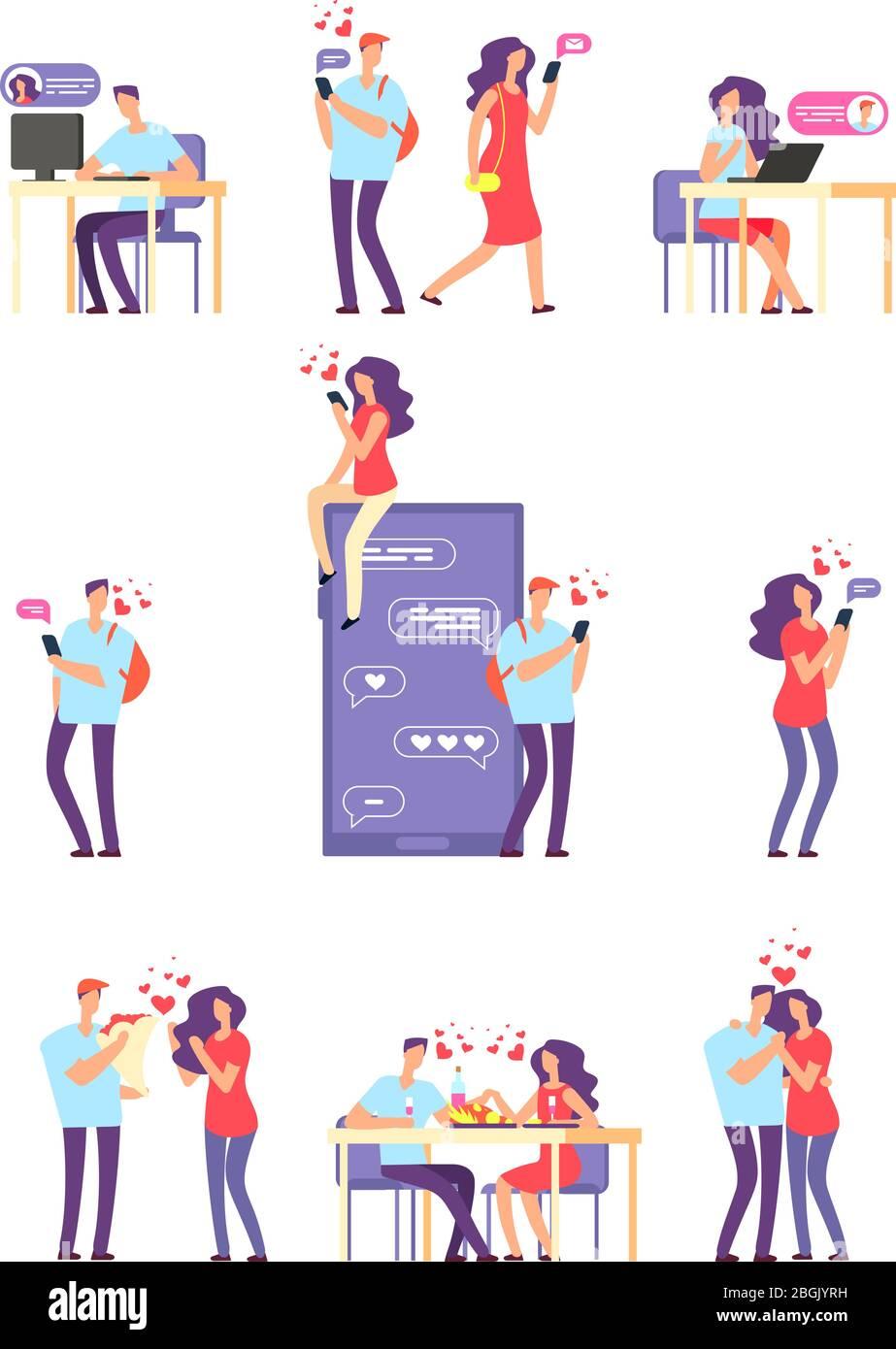 Citas románticas en línea. Hombre y mujer, pareja linda utilizando la aplicación móvil para hablar y relación de amor. Concepto vectorial. Citas y amor, hombre en línea y la mujer ilustración de la relación Ilustración del Vector