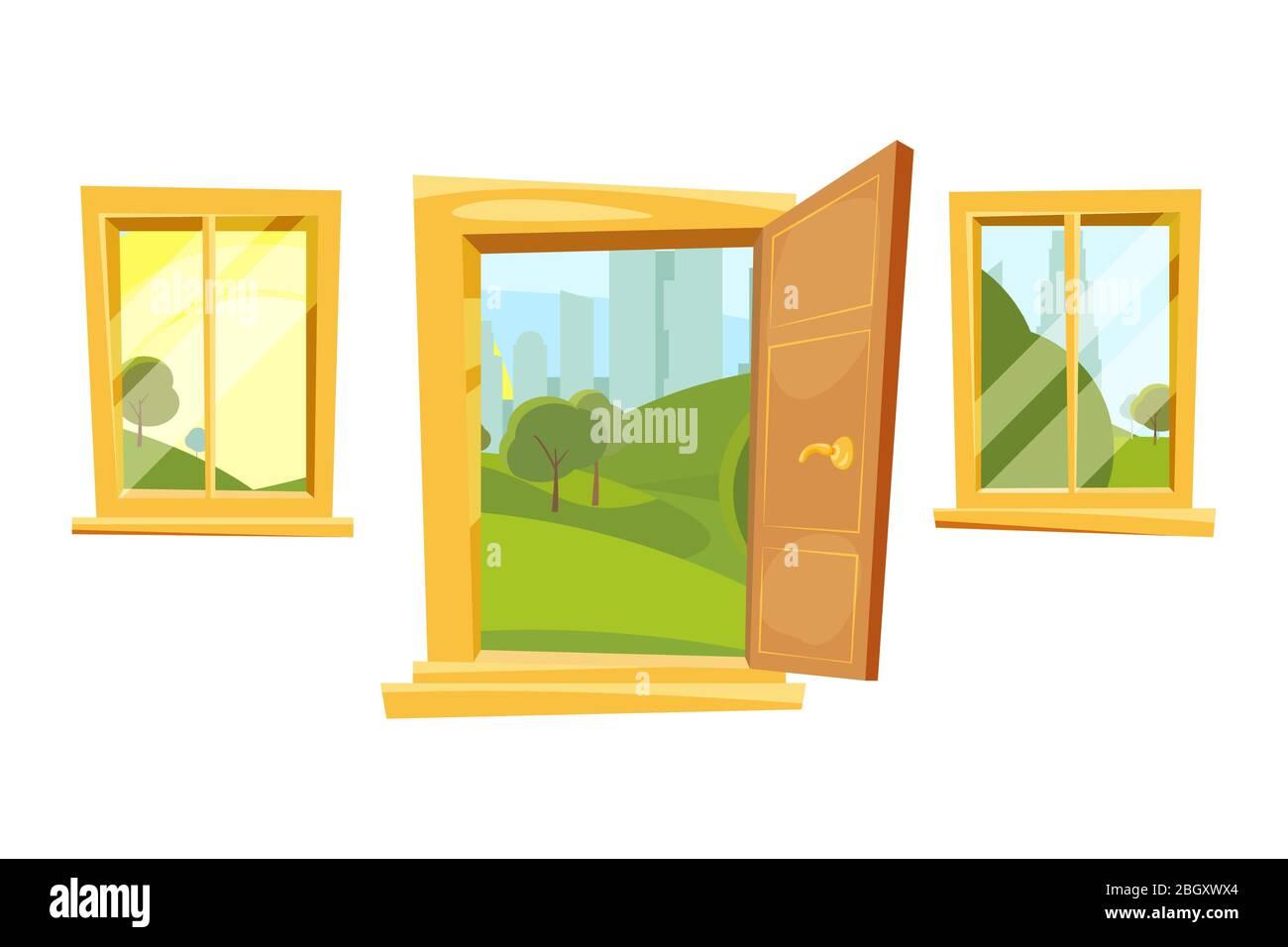 Puertas Abiertas Y Puesta De Sol Paisaje Detrás De Las Ventanas Imágenes Vectoriales En Estilo De Dibujos Animados Imagen De La Ventana Y La Puerta Del Marco De La Sala Interior Imagen