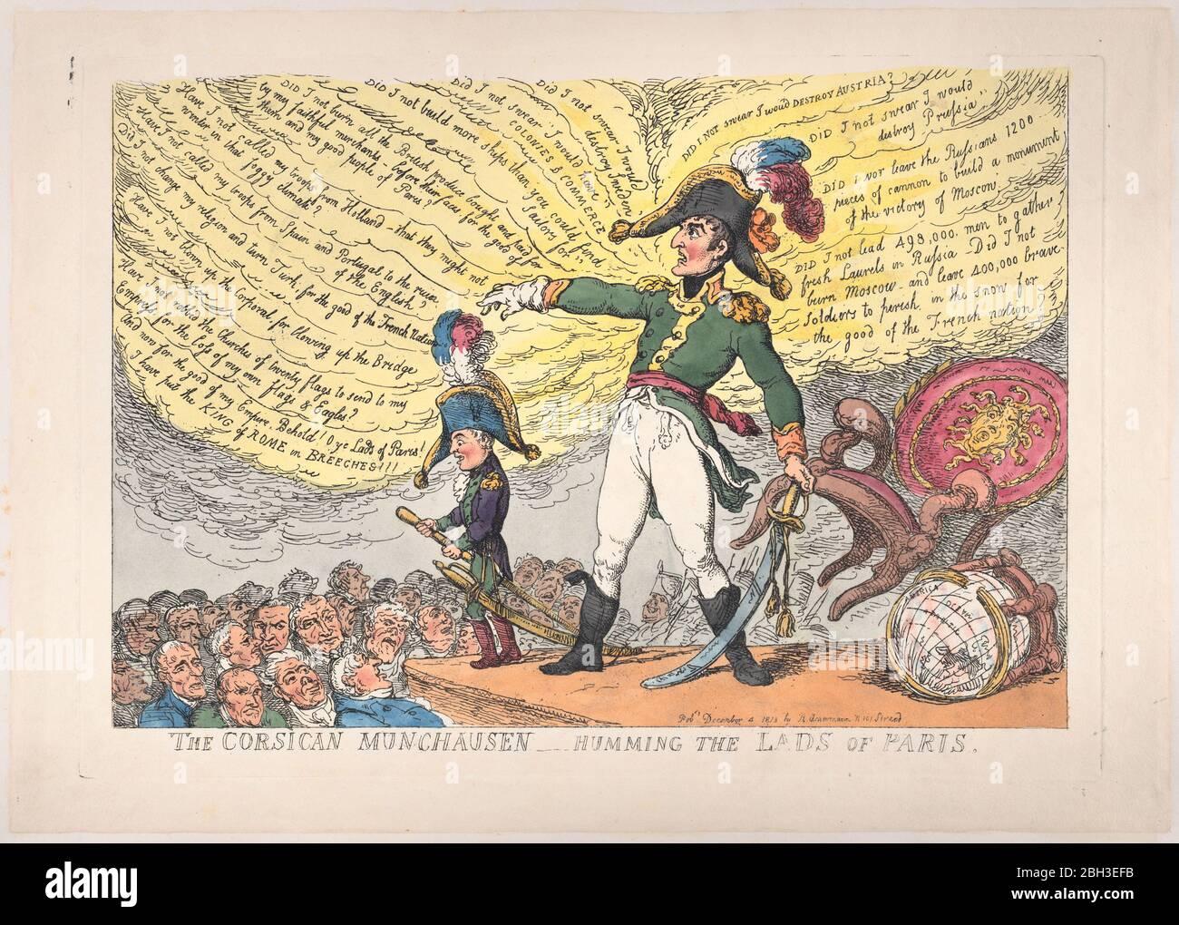 El Munchausen corso - el zumbido de los Lads de París, 4 de diciembre de 1813. Foto de stock