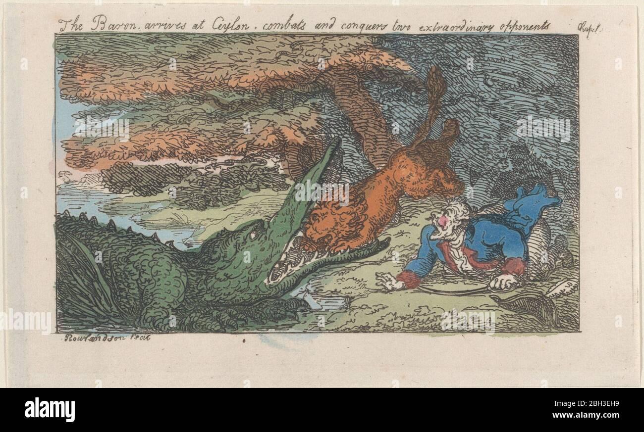 El Barón llega a Ceilán, combate y conquista a dos oponentes extraordinarios, [1809], reemitido en 1811. Foto de stock