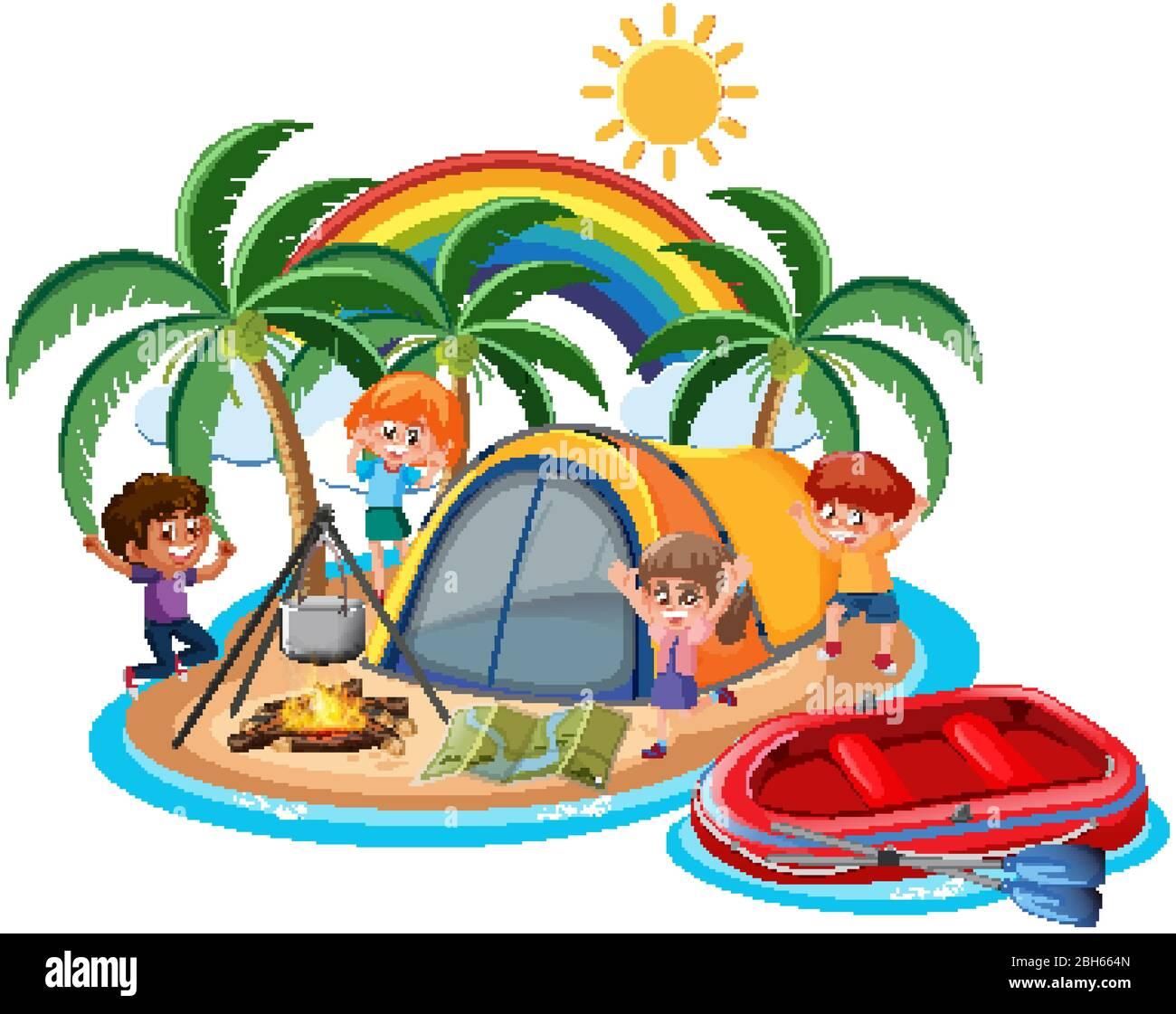 Escena con muchos niños acampando en la isla ilustración Ilustración del Vector