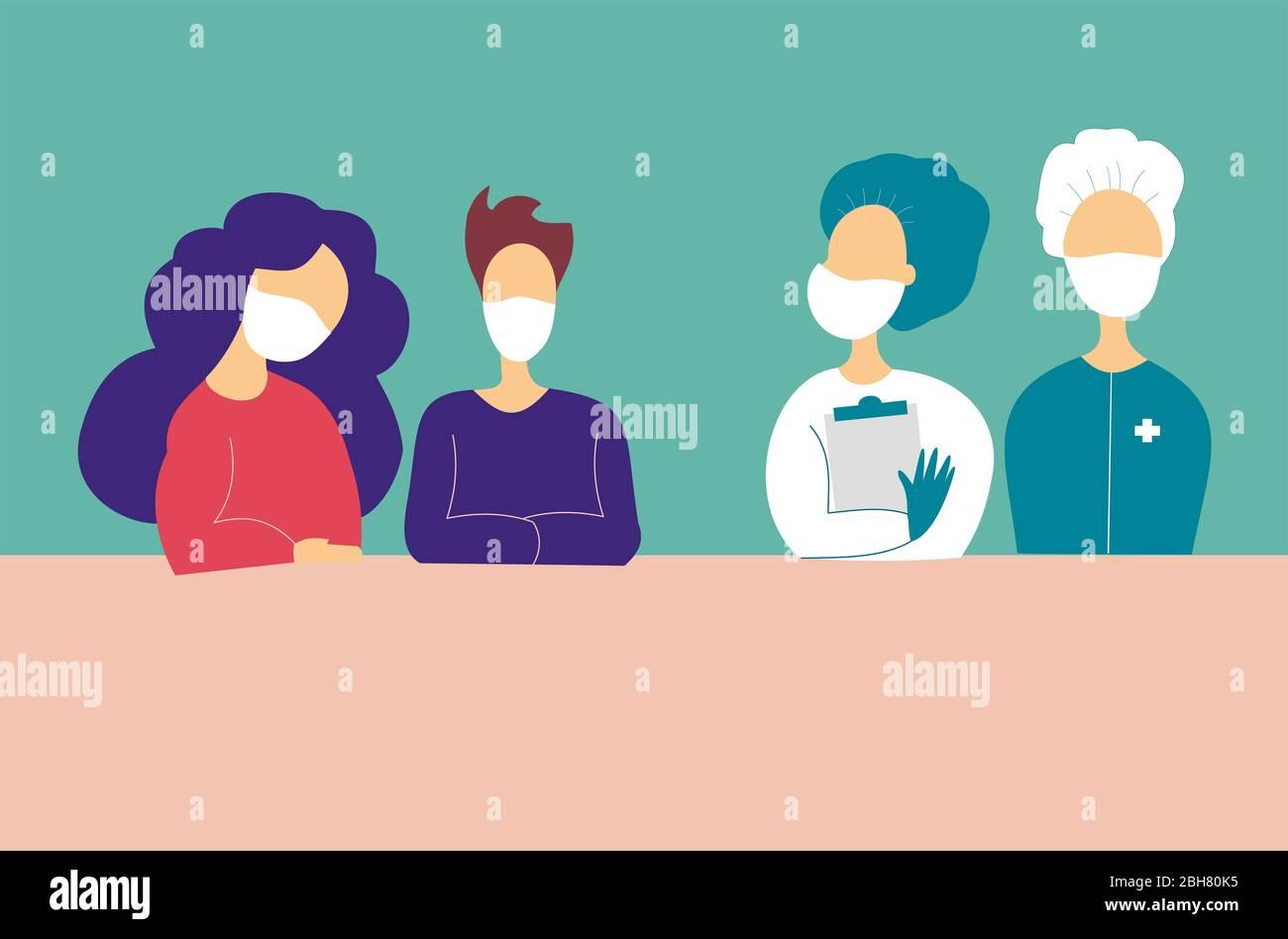 Personas y médicos que usan máscara médica. Pandemia de coronavirus Foto de stock
