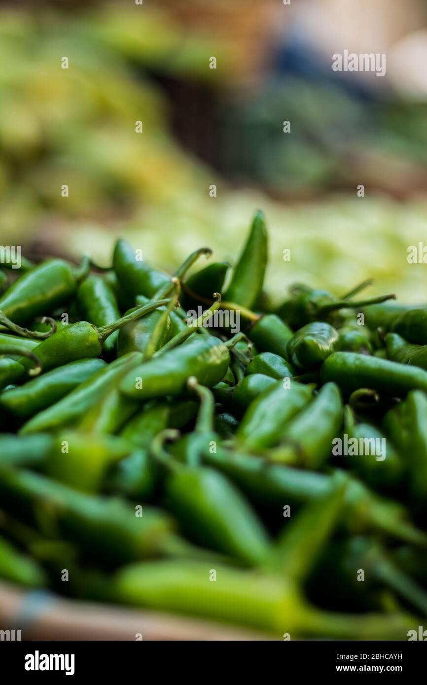 Chiles verdes para la venta en el mercado de la calle. Chiles verdes recién plegados en la granja. Mercado de productos frescos con vista de cerca de la pila de la chera verde Foto de stock