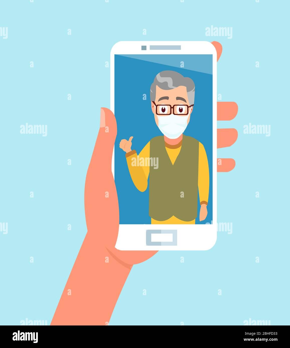 Vector de tener la mano con el smartphone charlando con un miembro de la familia mayor usando máscara facial a través de la aplicación de videollamada Ilustración del Vector