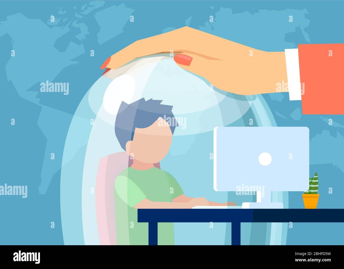 Vector de una madre manteniendo a un niño en una cúpula de cristal mientras está navegando por la web. Seguro de Internet para niños concepto Ilustración del Vector