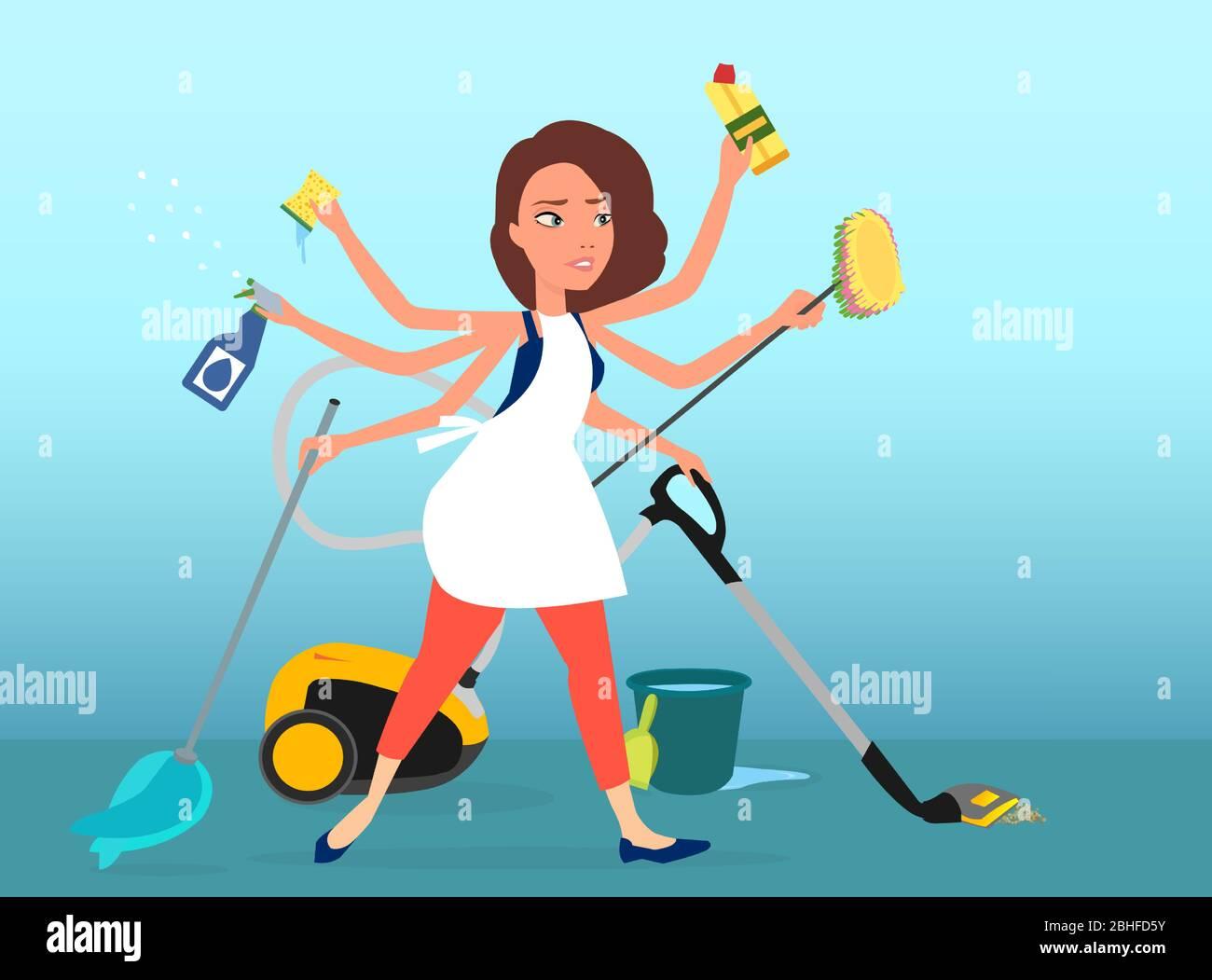 Vector De Una Mujer Multitarea Super Ocupada Lavando Aspirando Y Limpiando Su Casa Imagen Vector De Stock Alamy