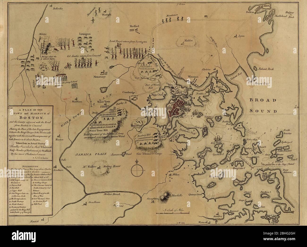 Un mapa en color a mano, casi exacto, que representa las 1775 batallas de Lexington y Concord y el asedio de Boston - 29 de julio de 1775 Foto de stock