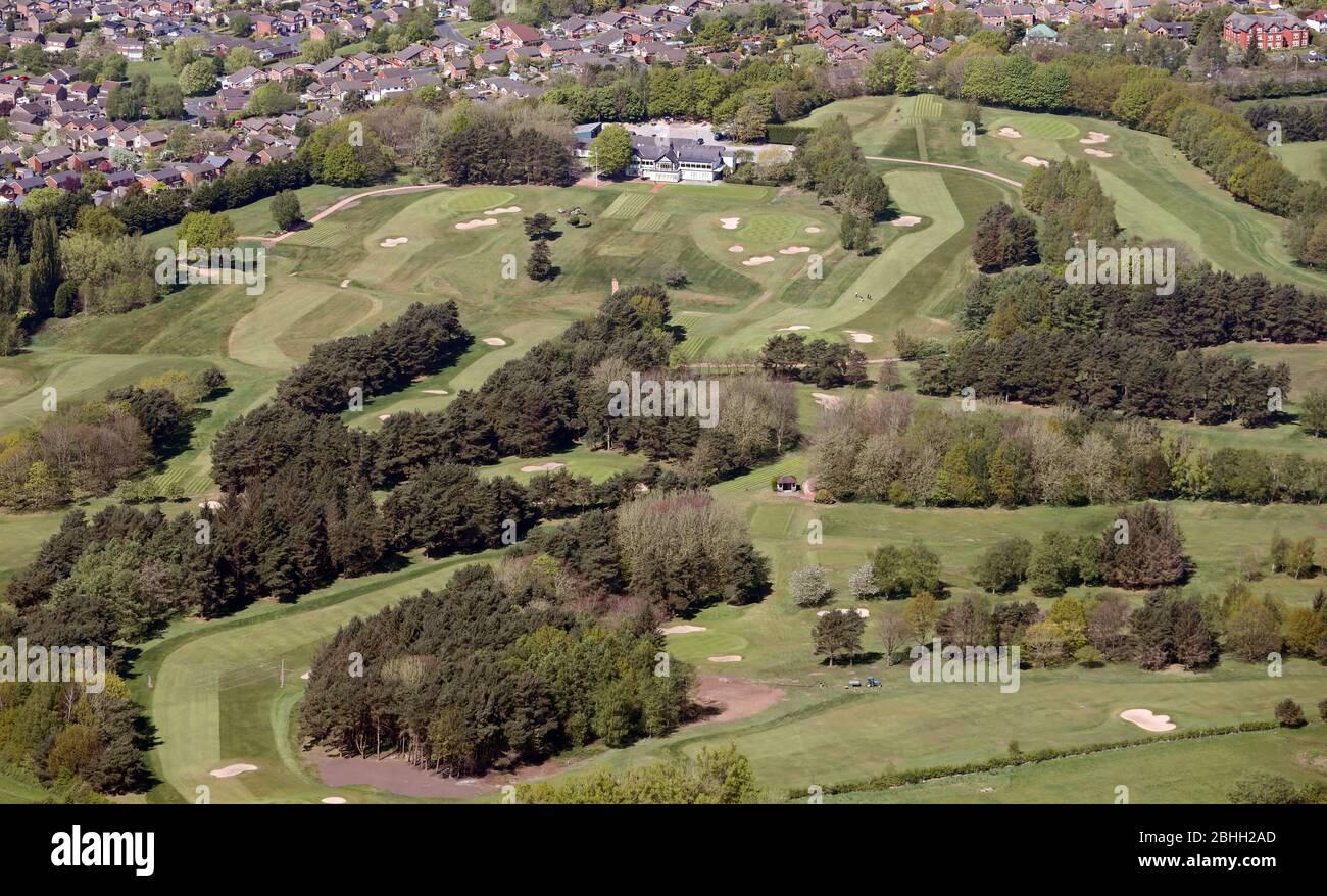 Vista aérea del Stockport Golf Club, cerca de Manchester Foto de stock