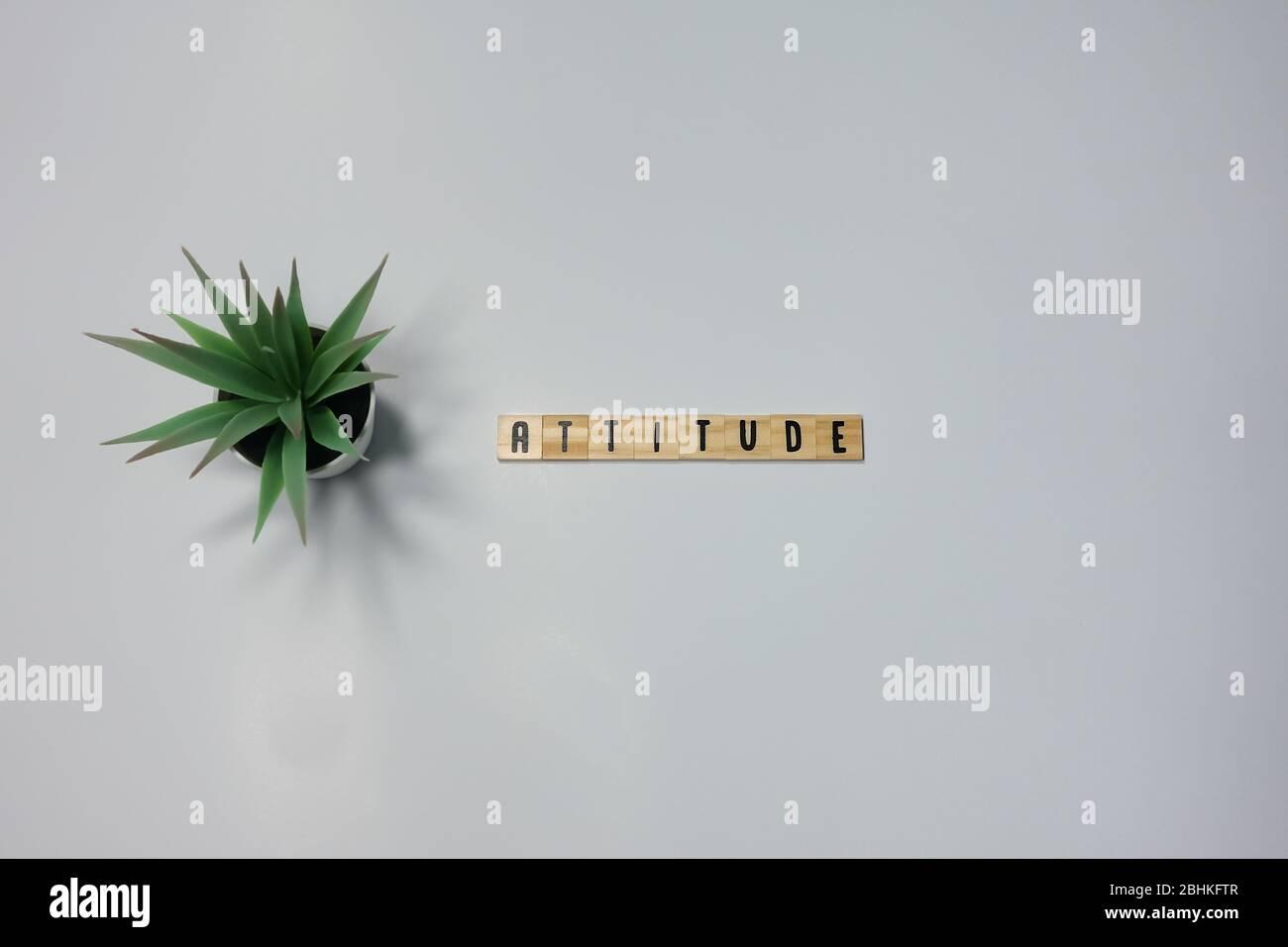 La palabra actitud escrita en madera azulejos de letras sobre un fondo blanco. Concepto de actitud en los negocios, la vida y la felicidad. Foto de stock