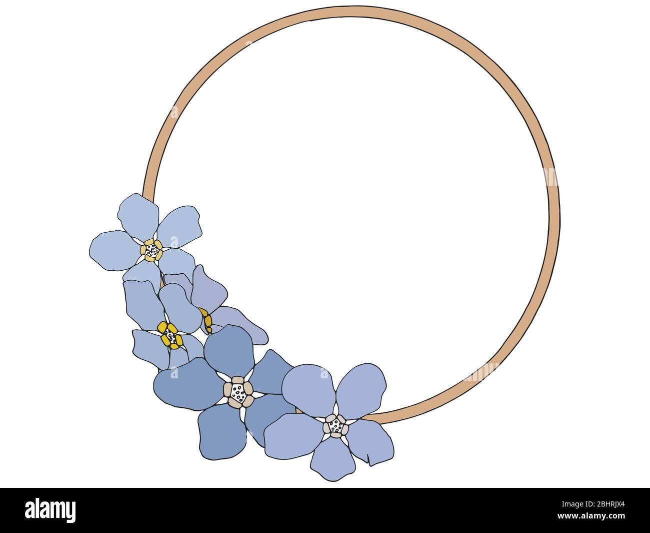 Forma circular con flores violetas aisladas sobre fondo blanco Foto de stock