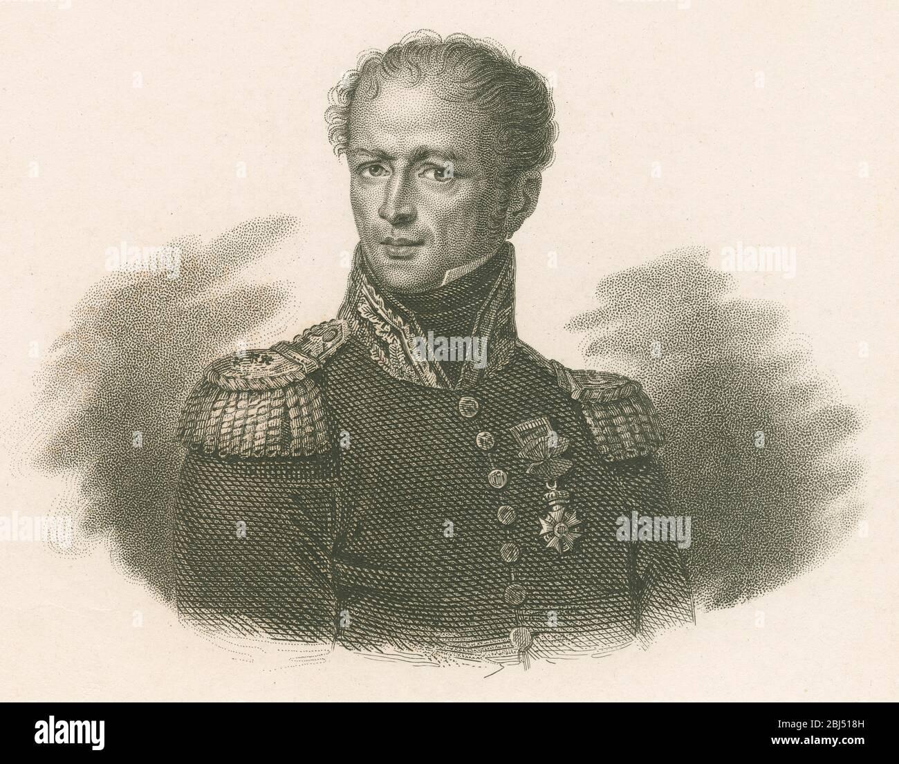 Grabado antiguo, Antoine Drouot. El general Antoine Drouot, Comte Drout (1774-1847) fue un oficial francés que luchó en las guerras de la Revolución Francesa y de Napoleón. FUENTE: GRABADO ORIGINAL Foto de stock