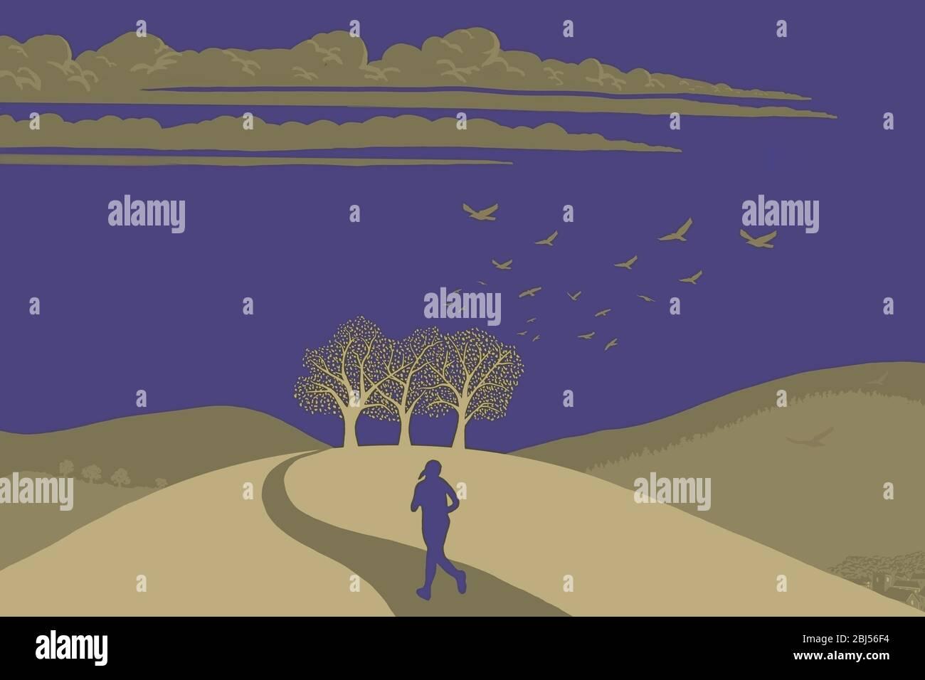Una ilustración de una mujer corriendo en el campo británico, Gran Bretaña, Reino Unido Foto de stock