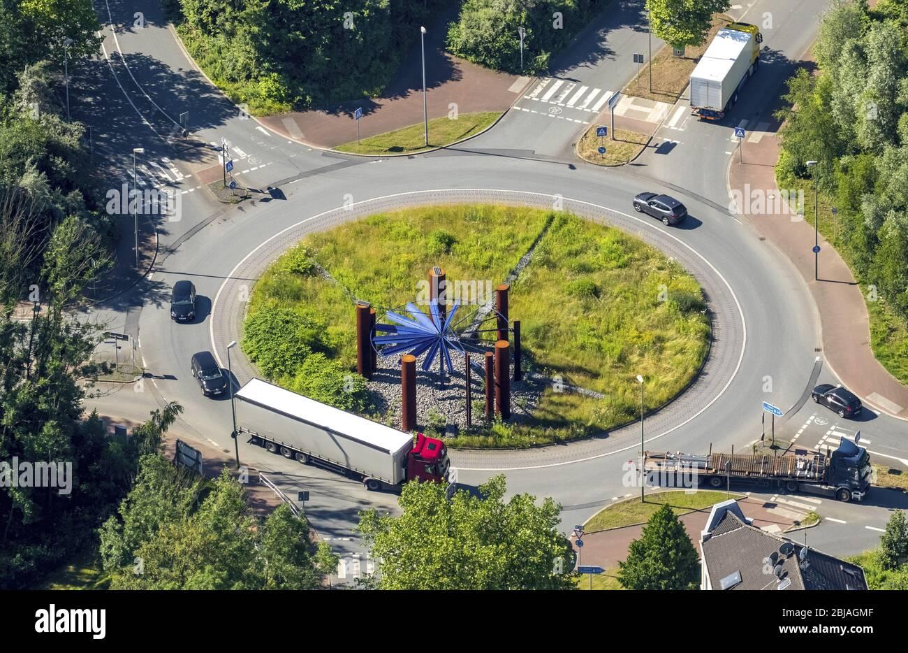 Rotonda Stahlhalla en la calle Heussner, Kohlenstreet en Bochum, 23.06.2016, vista aérea, Alemania, Renania del Norte-Westfalia, Ruhr Area, Bochum Foto de stock
