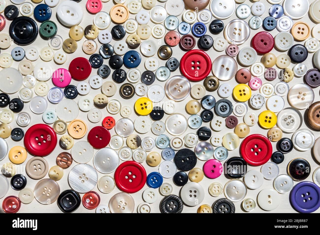 Colección de botones de ropa de varios tamaños y colores Foto de stock
