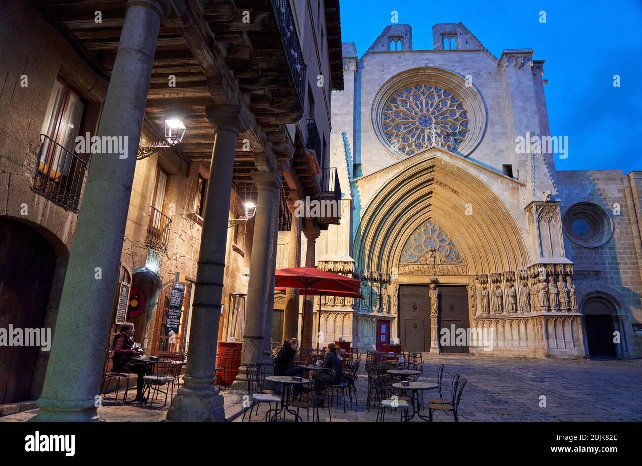 Catedral, Pla de La Seu, la ciudad de Tarragona, en Cataluña, España, Europa Foto de stock