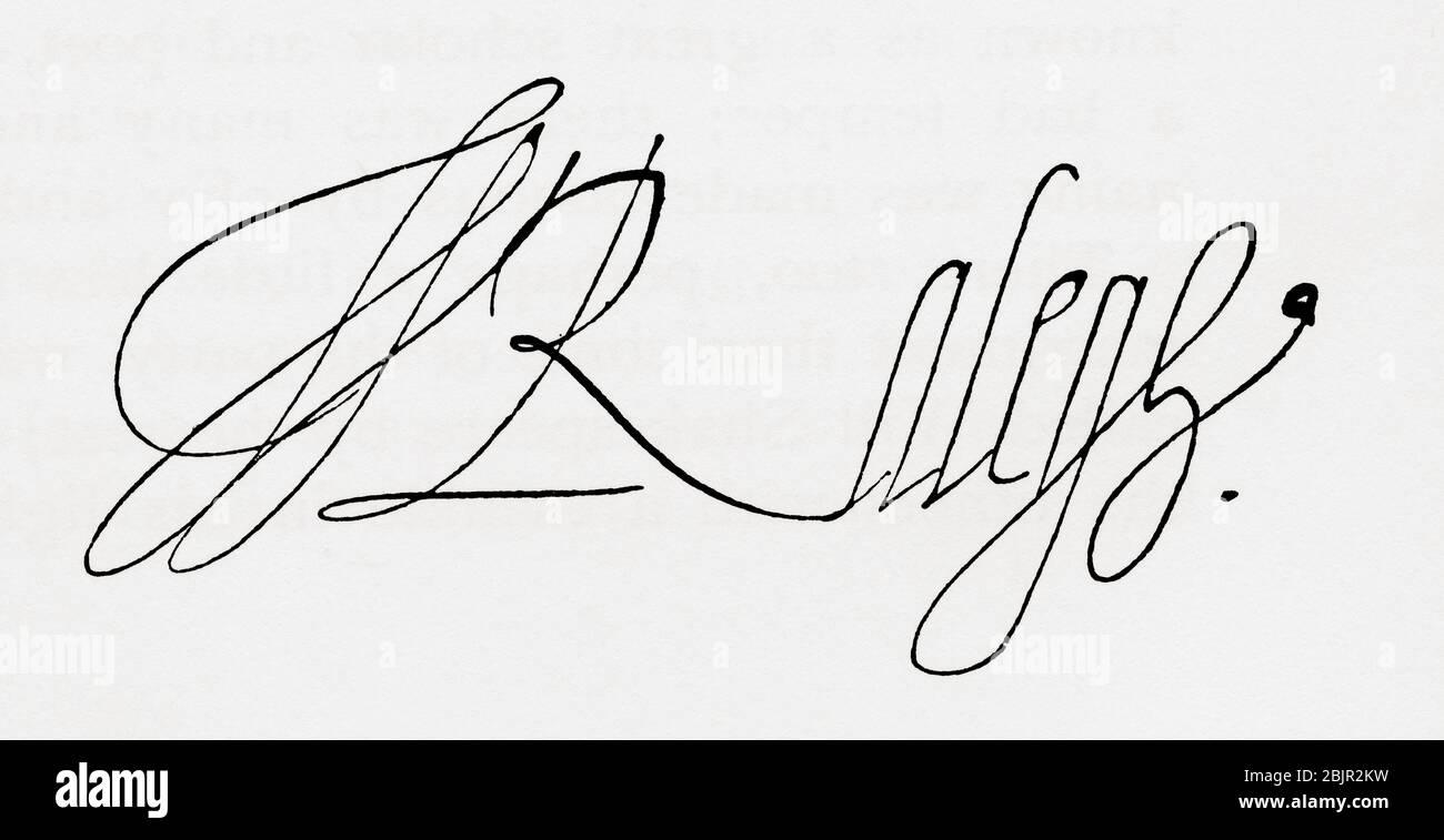 Firma de Sir Walter Raleigh, c. 1552 /1554 - 1618. Inglés aterrizó caballero, escritor, poeta, soldado, político, cortesano, espía y explorador. De Gran Bretaña y sus vecinos, 1485 - 1688, publicado en 1923. Foto de stock