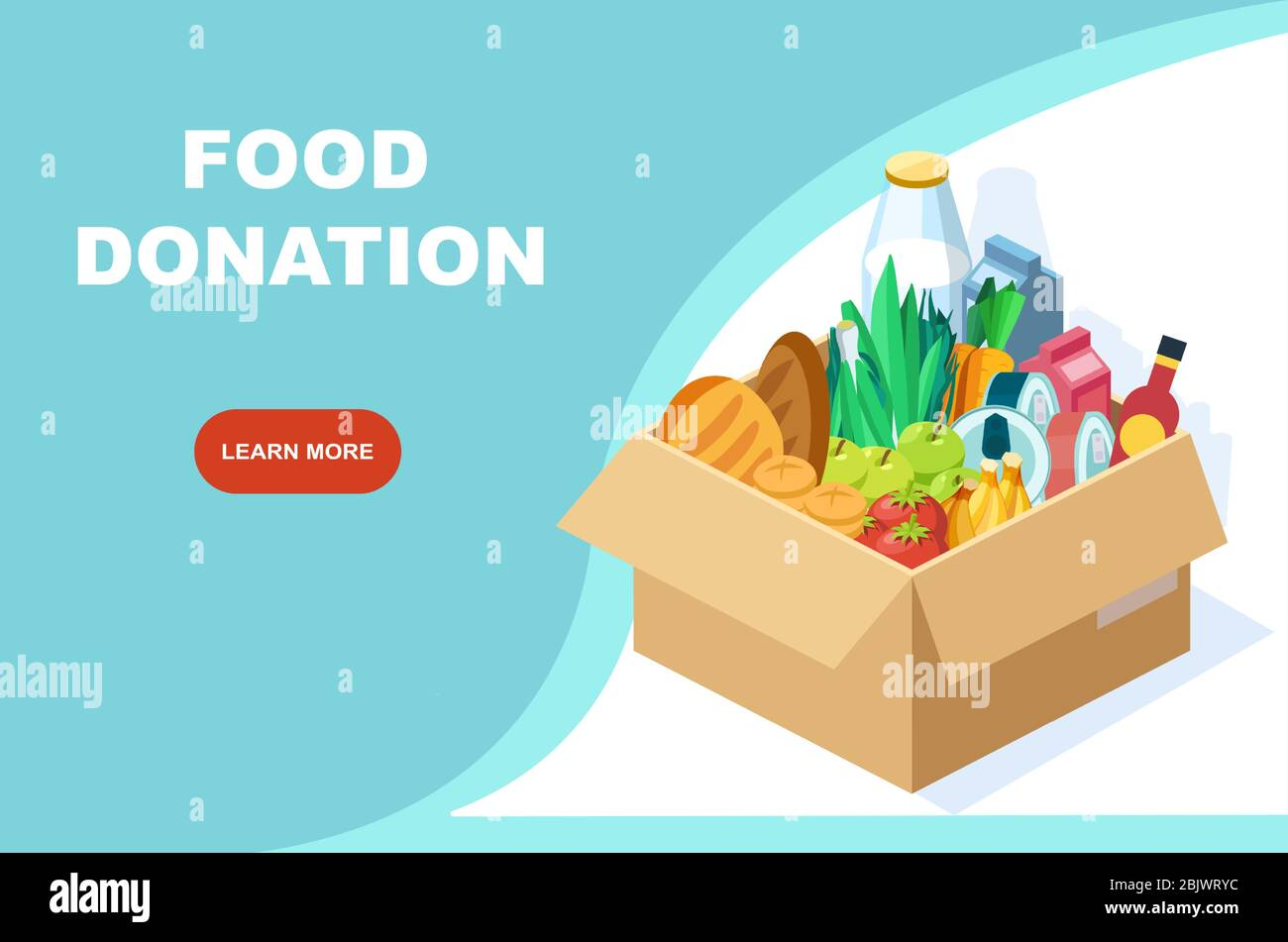 Vector de una caja con comestibles. Banner del programa de donación de alimentos Ilustración del Vector