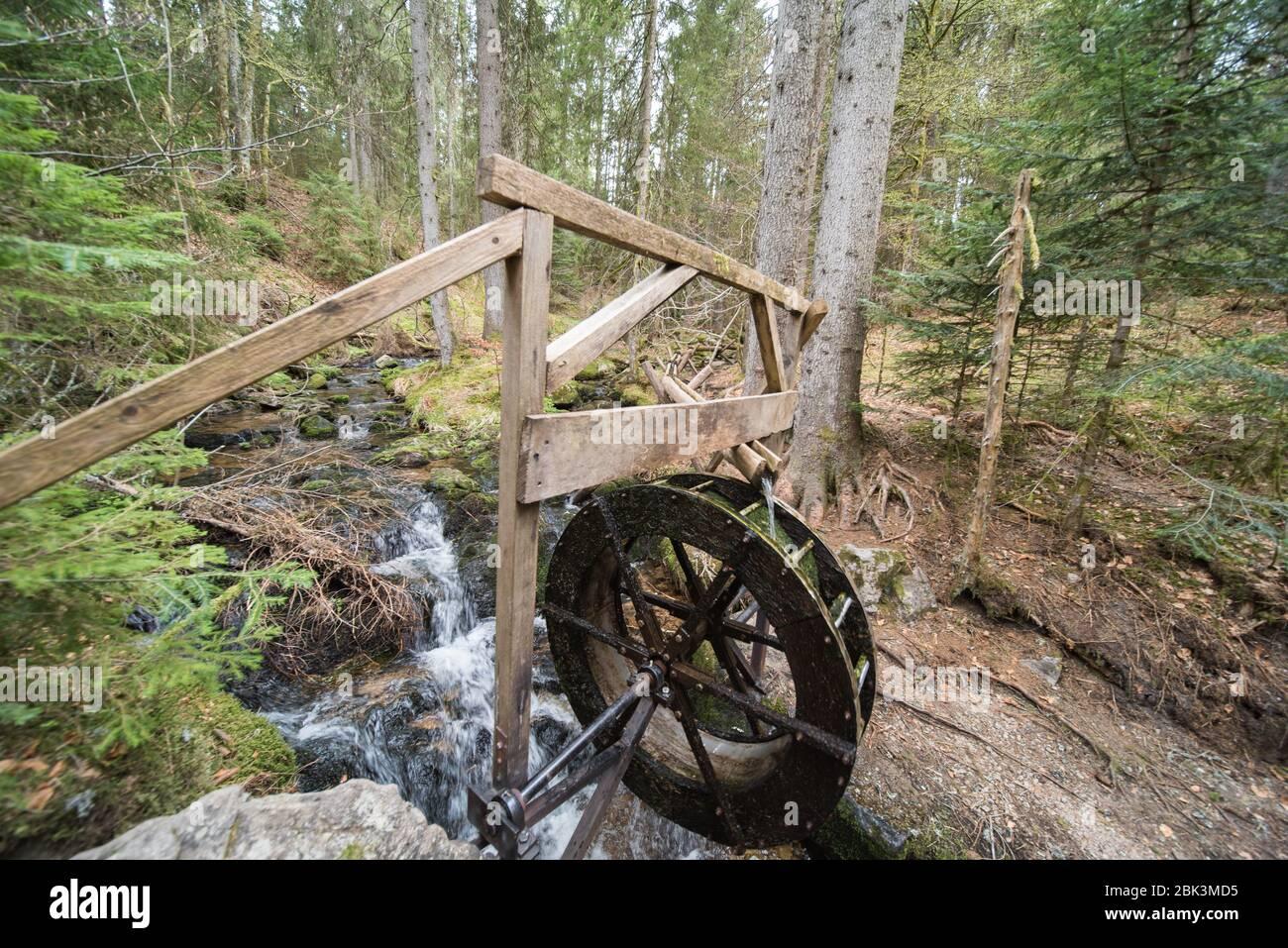 rueda de agua en el bosque en alemania. Foto de stock
