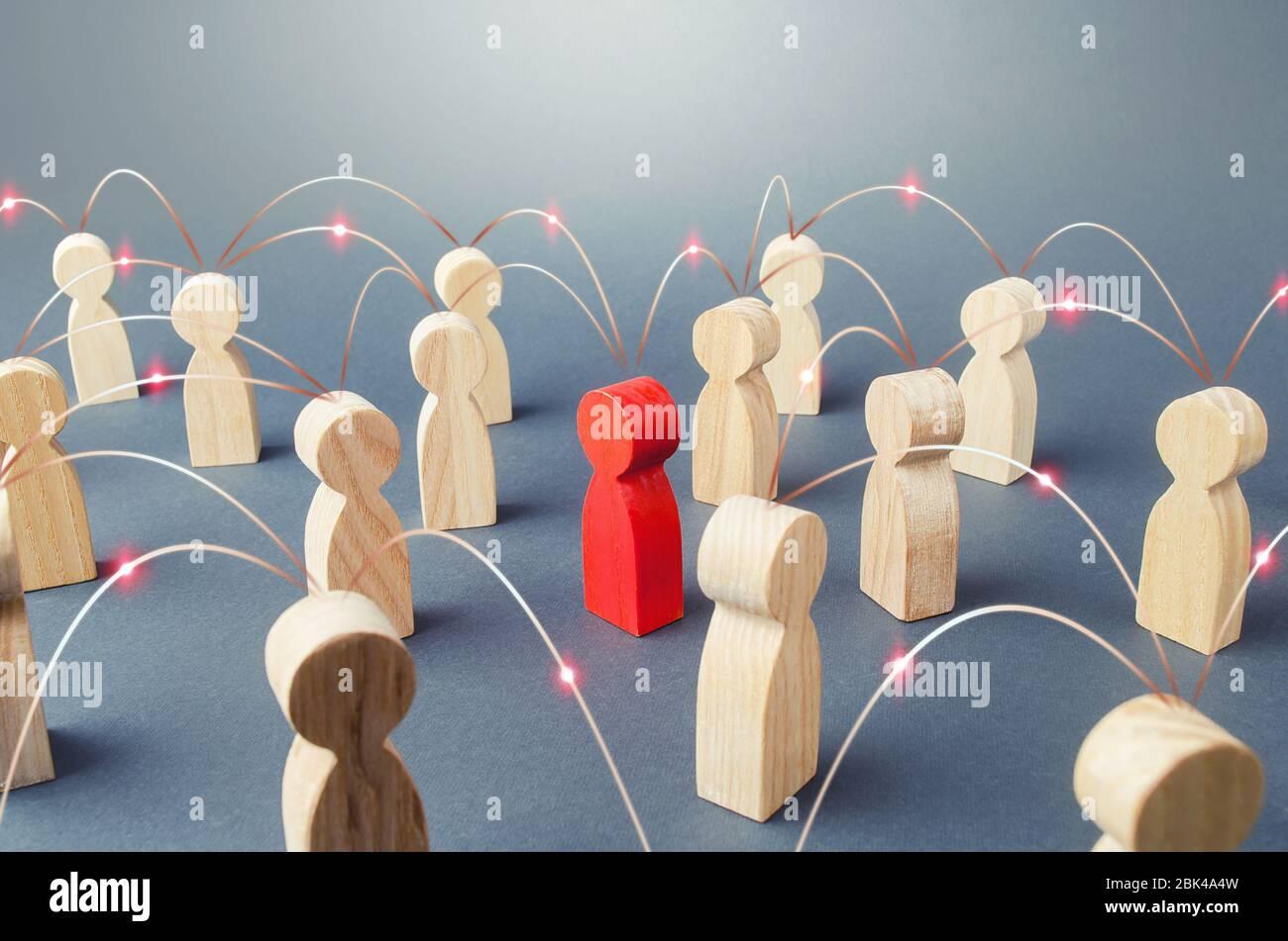 Personas conectadas por líneas. Cooperación y colaboración, difusión de los chismes de noticias. Trabajo en equipo. Concepto de sociedad. Relaciones de ciencias sociales. Mercado Foto de stock