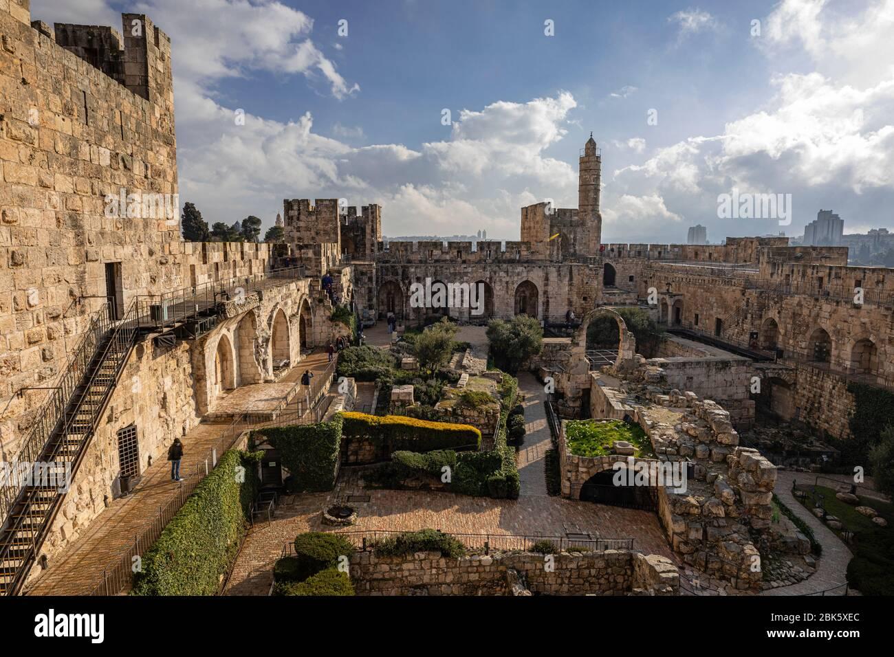 Torre de David, Ciudadela de Jerusalén, en la Ciudad Vieja de Jerusalén, Israel Foto de stock