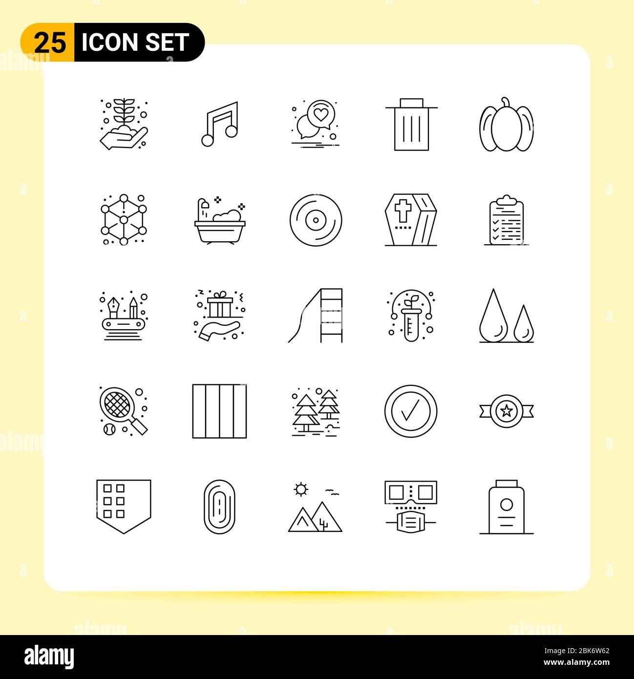 25 concepto de línea para sitios web móviles y aplicaciones alimentos, basura, música, interfaz, romance elementos de diseño vectorial editables Ilustración del Vector