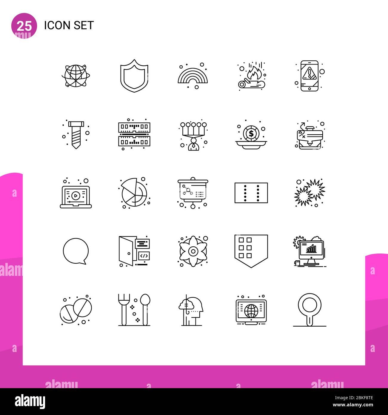 25 concepto de línea para sitios web móviles y aplicaciones alerta, fuego, protección, fuego, línea elementos de diseño vectorial editables Ilustración del Vector