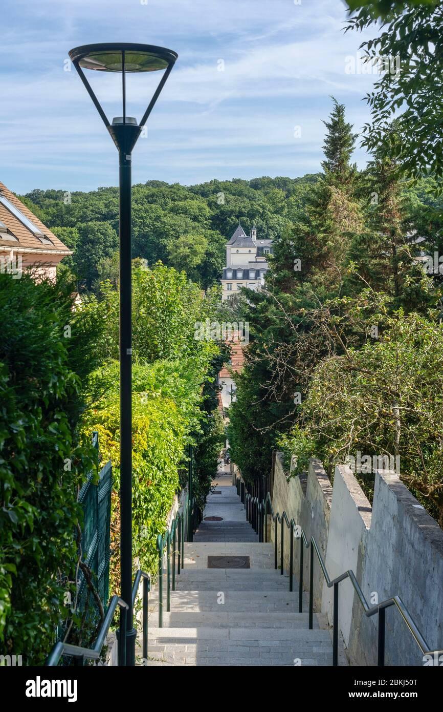 Francia, Altos del Sena, le Plessus-Robinson, Escalier Levandowska Foto de stock