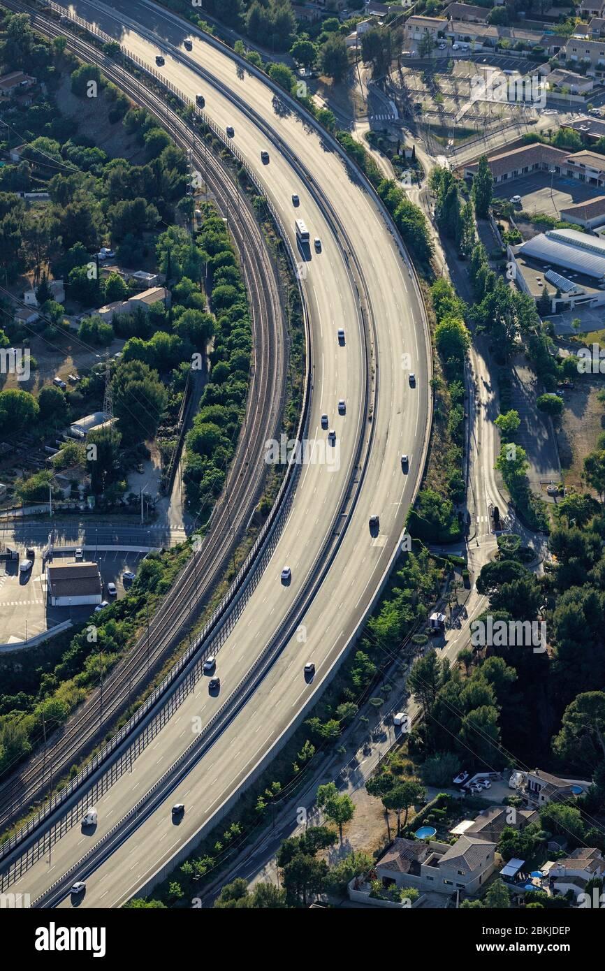 Francia, Bocas del Ródano, la Ciotat, autopista A50 (vista aérea) Foto de stock