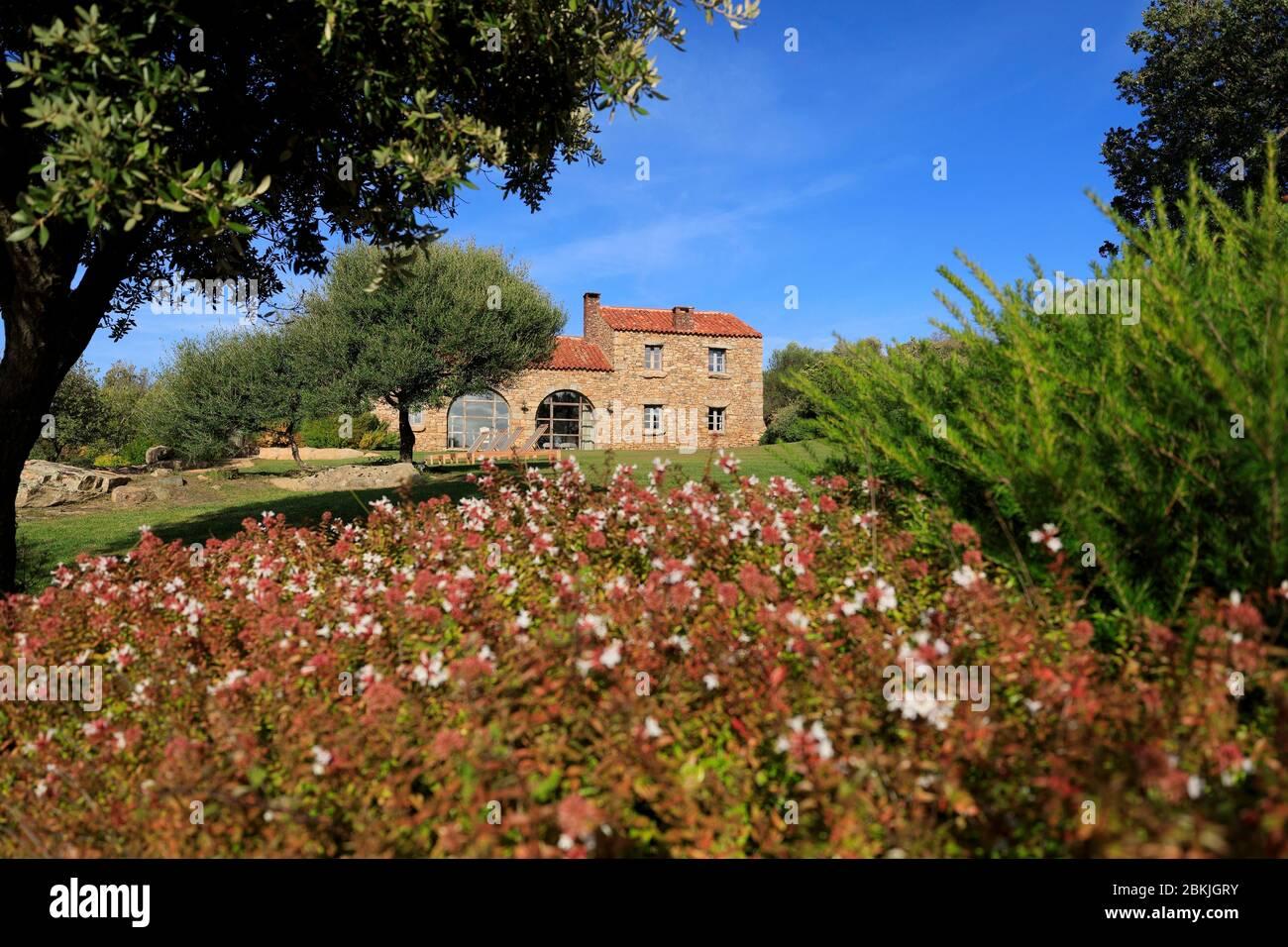 Francia, Corse du Sud, Domaine de Murtoli, U Fragnu casa (mención obligatoria Domaine de Murtoli) Foto de stock