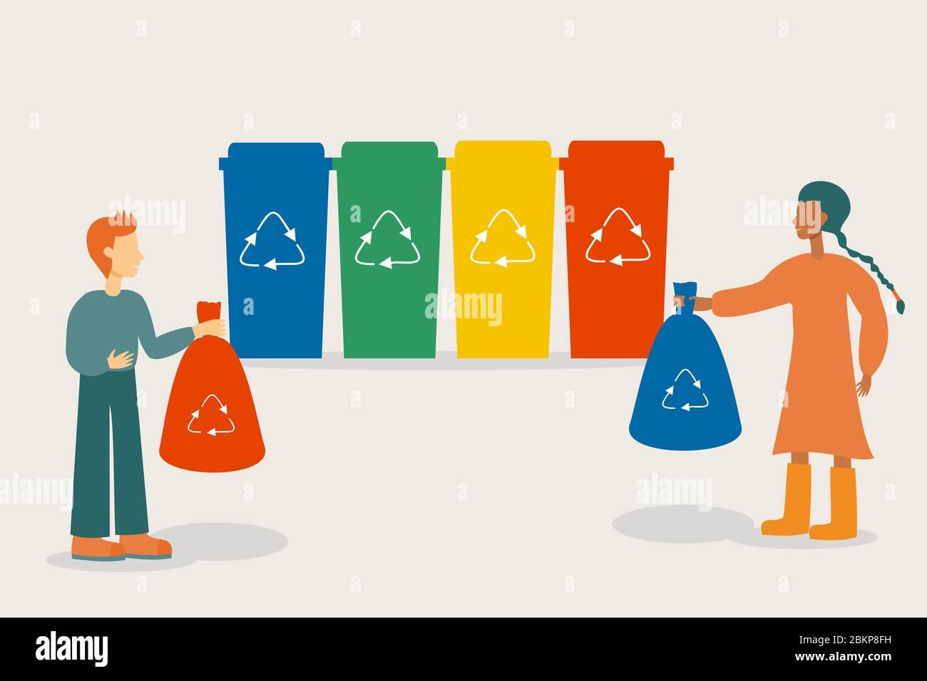 Personajes de la gente que clasifican rubbish en diferentes contenedores o contenedores de reciclaje para reducir la contaminación Foto de stock