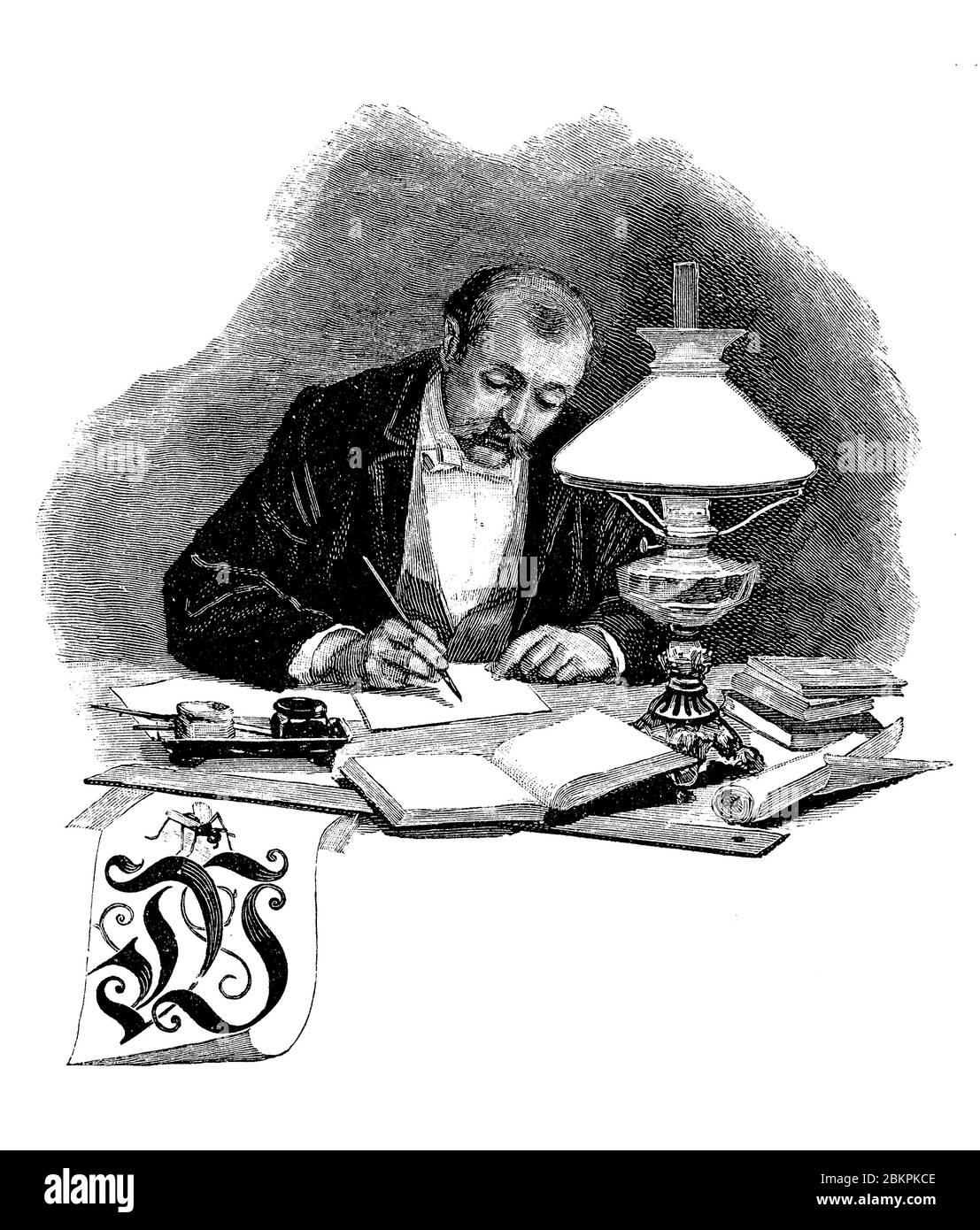 Tipografía: Letra W capítulo frontispiece, viñeta decorativa de un hombre sentado en su escritorio con libros, escribiendo una carta con lápiz y tinta Foto de stock