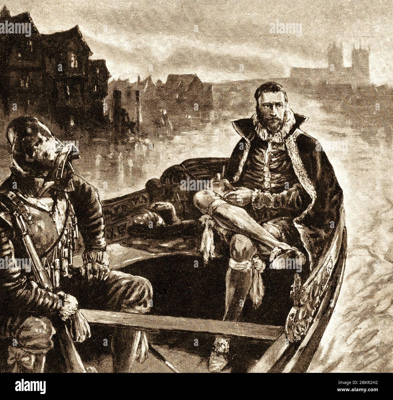 1921 ilustración - Sir Walter Raleigh (1552/544 - 1618) siendo llevado a la Torre de Londres después de su arresto. Fue un conocido caballero inglés desembarcado, así como un notable escritor, poeta, soldado, político, cortesano, espía y explorador que popularizó el tabaco en Inglaterra. Fue decapitado en el Old Palace Yard, Westminster, el 29 de octubre de 1618, tras lo cual Lady Raleigh mantuvo la cabeza de su marido en una bolsa de terciopelo hasta su propia muerte. Foto de stock
