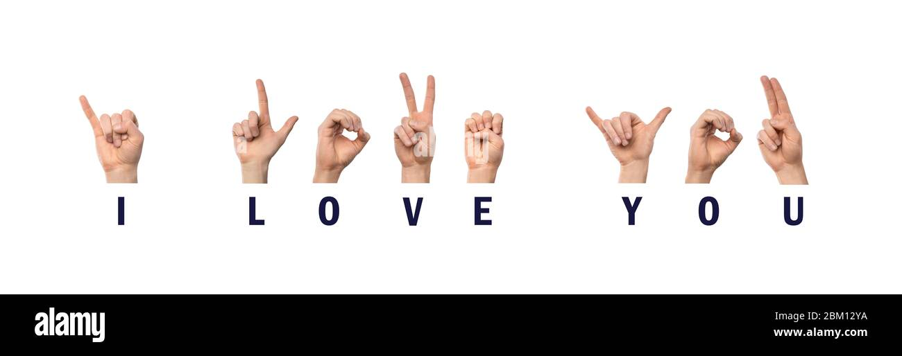 Te amo Ortografía de dedos en lenguaje de señas Americano ASL Foto de stock