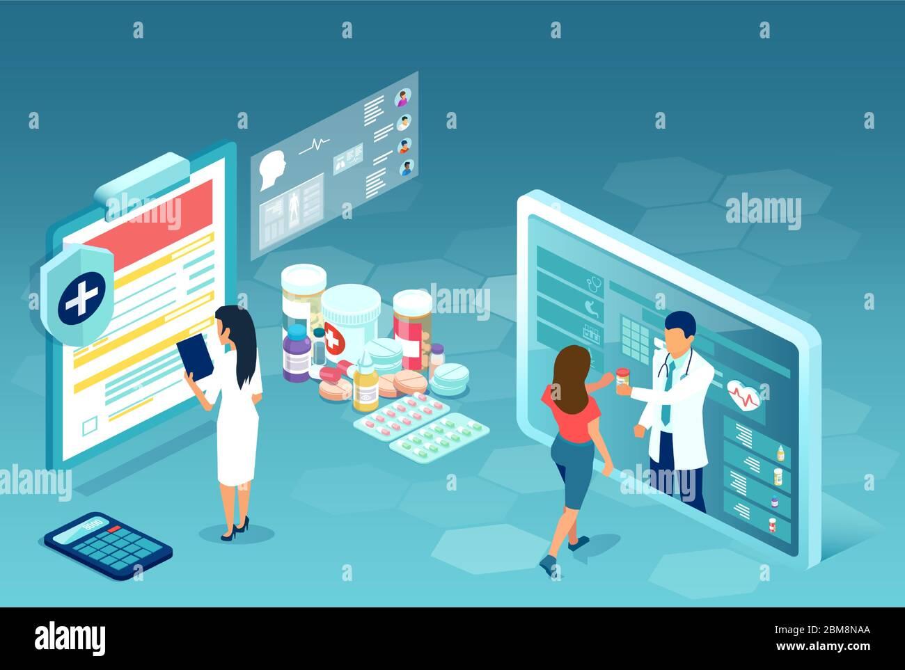 Pida medicamentos por Internet. Vector de farmacia en línea, con el farmacéutico comunicándose con los pacientes a través de la aplicación móvil Ilustración del Vector