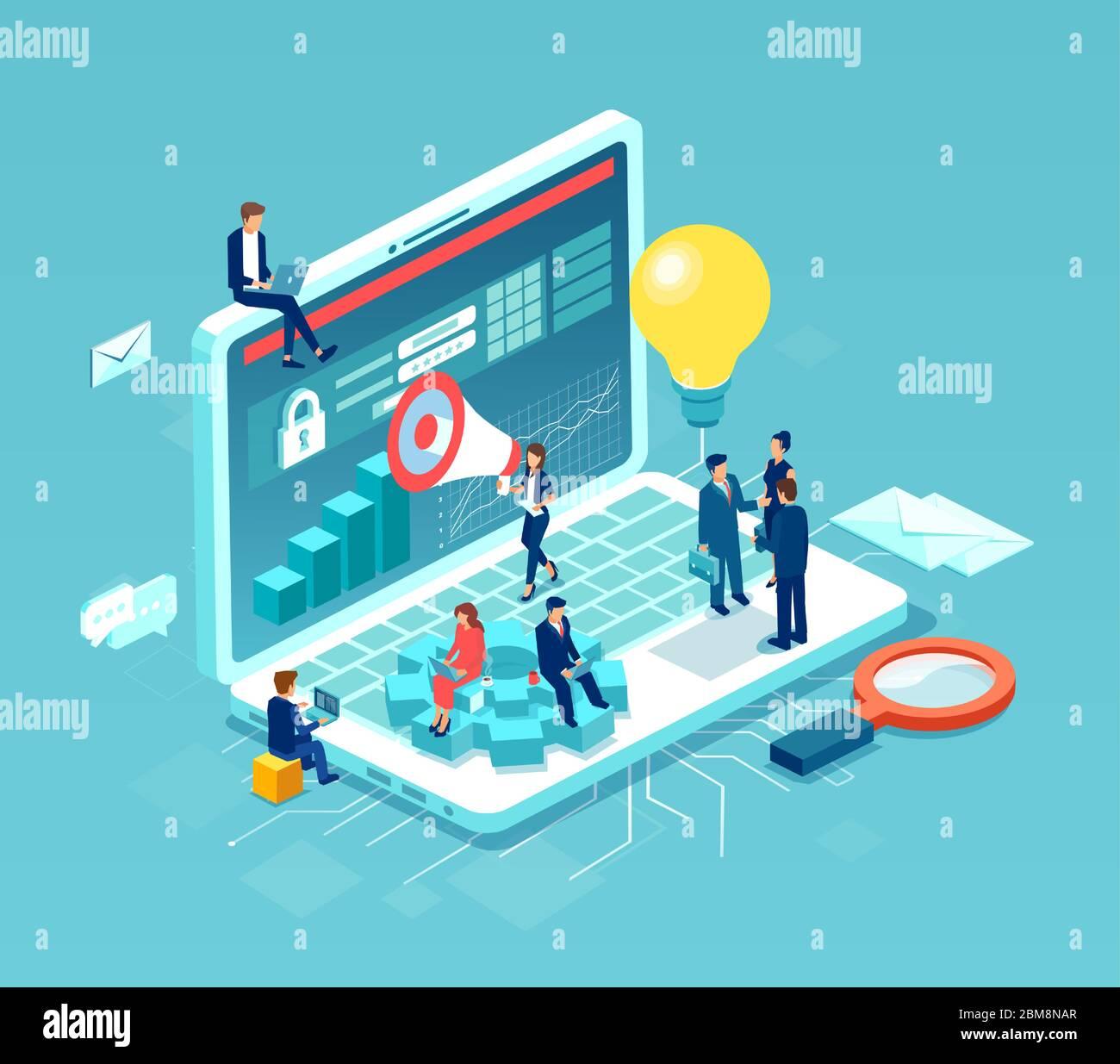 Equipo de gente de negocios trabajando en el desarrollo web y la optimización de idea de concepto Ilustración del Vector
