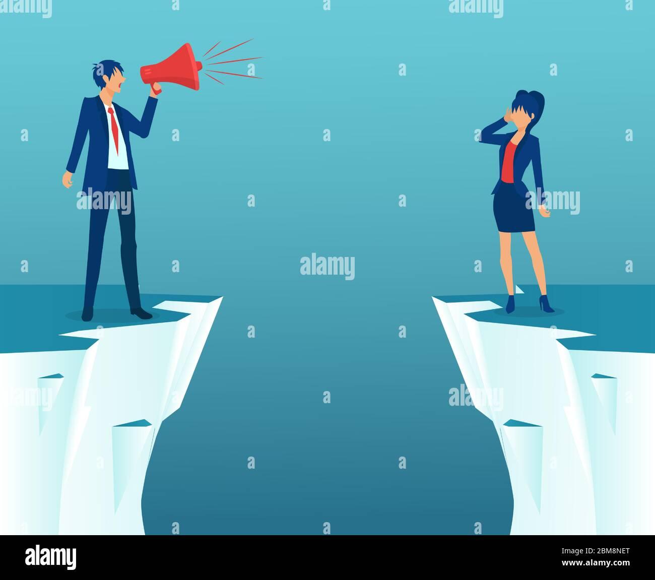 Concepto de brecha de género y desigualdad en las empresas. Vector de un hombre de negocios gritando en megáfono y una empresaria que se encuentra en la brecha. Ilustración del Vector