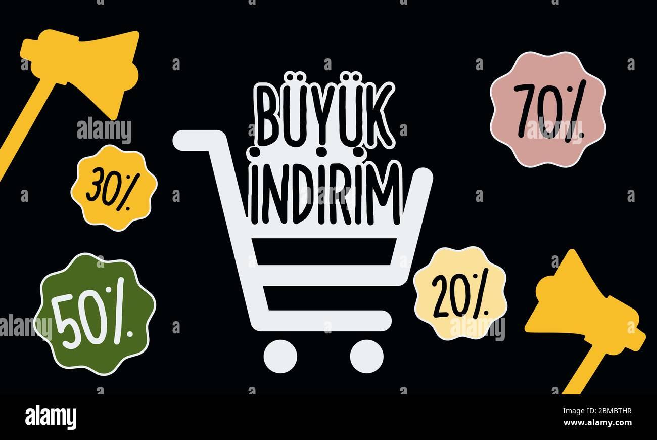 B y k Indirim cita en turco, aislado sobre fondo negro. Traducción: Venta de B y k . Rotulación, ilustración vectorial. 10 EPS Ilustración del Vector
