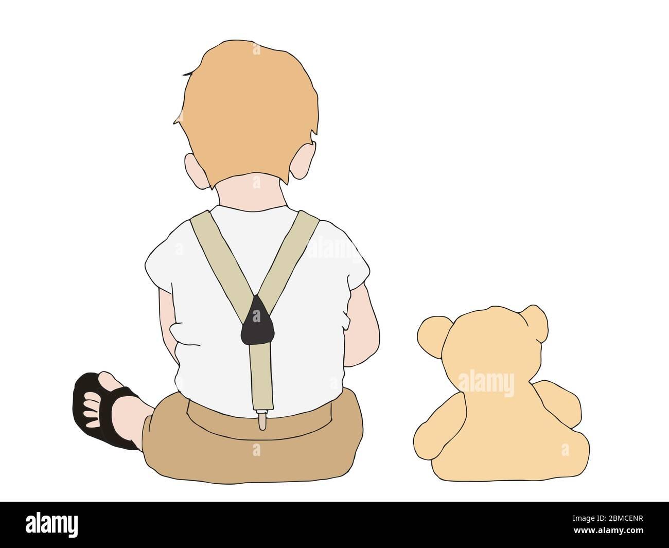 Ilustración de un niño pequeño y un juguete de oso de peluche que siting juntos sobre fondo blanco Foto de stock