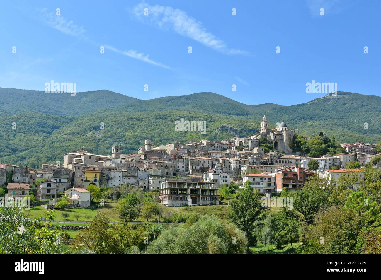 Vista panorámica de Cusano Mutri, Italia Foto de stock