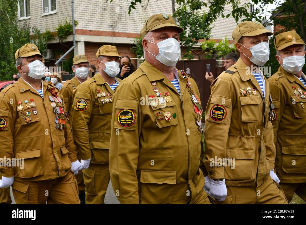 Krasnodar Rusia 9 De Mayo De 2020 Miembros De La Union De Veteranos De Afganistan Actuan
