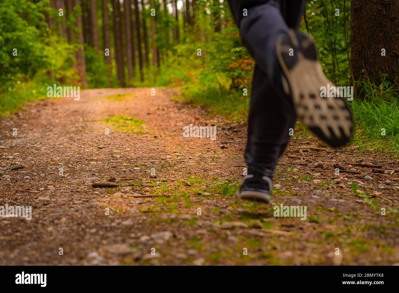 Pies de jogging de un hombre corriendo desde una perspectiva baja en un bosque verde en primavera. Foto dinámica de una actividad humana popular para aumentar a los somebodys Foto de stock