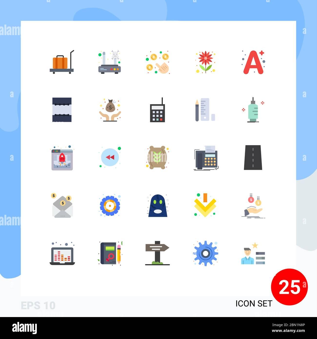 Juego de 25 colores planos comerciales para un, verano, router, semilla, dinero elementos de diseño vectorial editables Ilustración del Vector