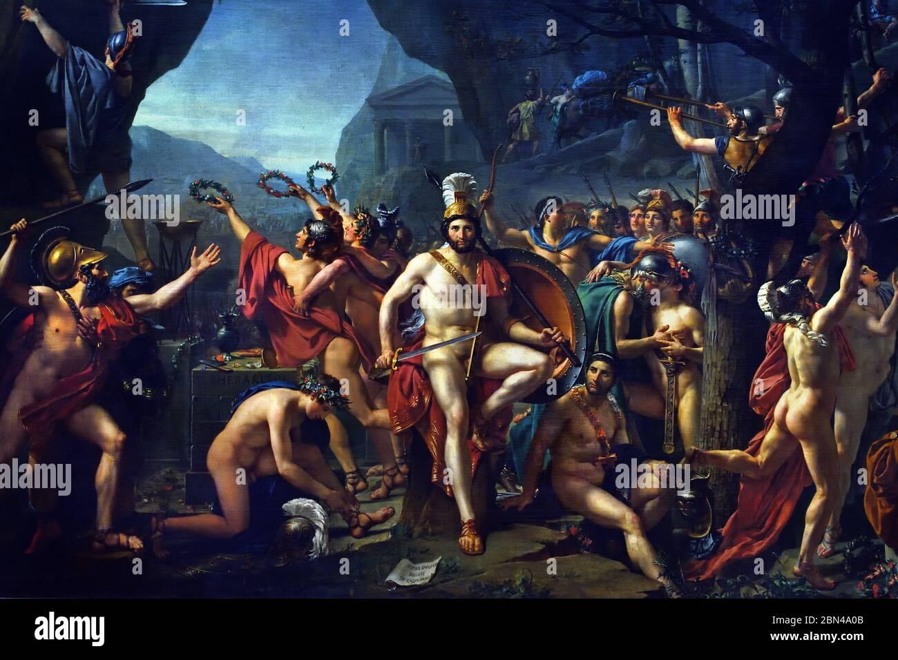 Leonidas en Thermopylae, por Jacques-Louis David, 1814 Francia Francés, Leonidas fue el rey espartano que dirigió una pequeña banda de aliados griegos en la batalla de Thermopylae en 480 AEC donde los griegos defendieron valientemente el paso a través del cual el rey persa Xerxes trató de invadir Grecia con su ejército masivo. Foto de stock